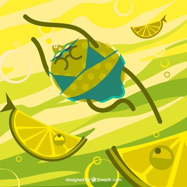 Leuke achtergrond van citroen zwemmen onder vissen Gratis Vector