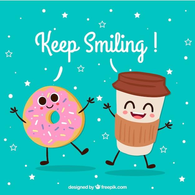 Leuke achtergrond van gelukkige drankjes en donut karakters Gratis Vector