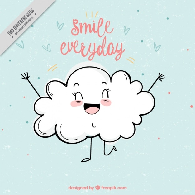 Leuke achtergrond van het glimlachen wolk Gratis Vector