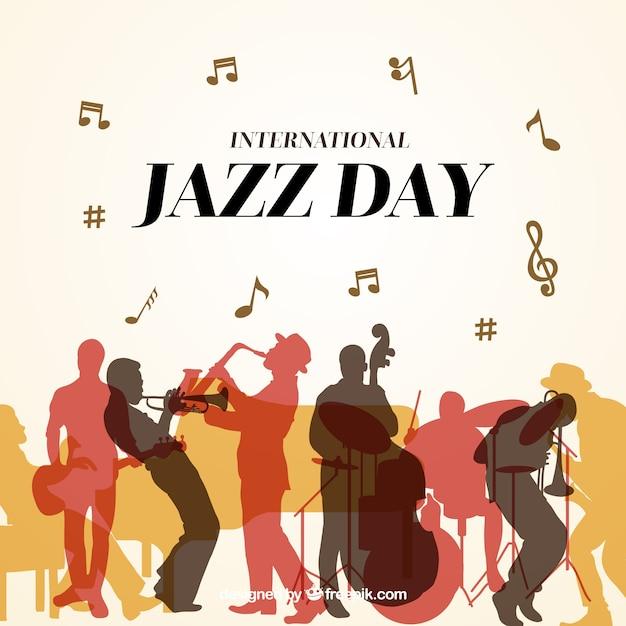 Leuke achtergrond voor de internationale jazzdag Gratis Vector