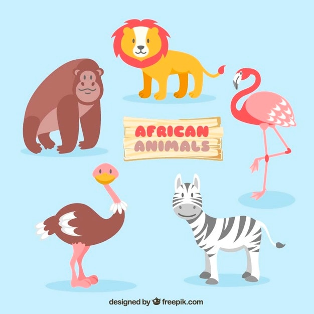 Leuke afrikaanse dieren Gratis Vector