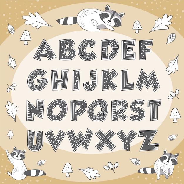 Leuke alfabet dieren wasbeer onderwijs poster voor kinderen Premium Vector