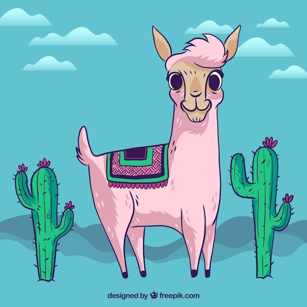 Leuke alpaca achtergrond met cactus Gratis Vector