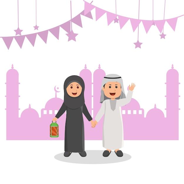 Leuke arabische moslimjonge geitjes illustratie ramadhan greeting cartoon Premium Vector