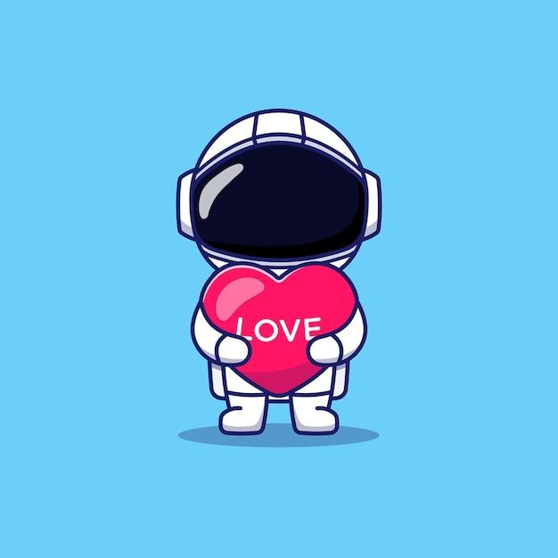 Leuke astronaut die de ballon van het liefdehart houdt Premium Vector