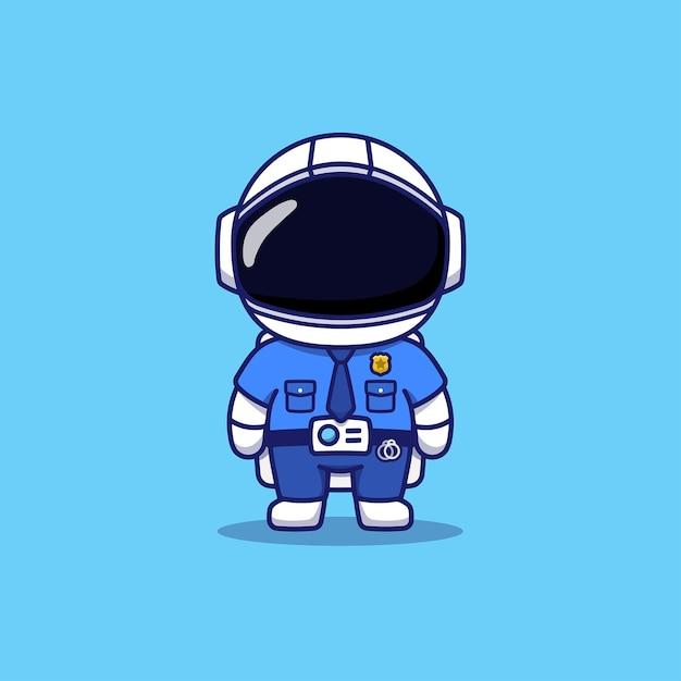 Leuke astronaut die politie-uniform draagt Premium Vector