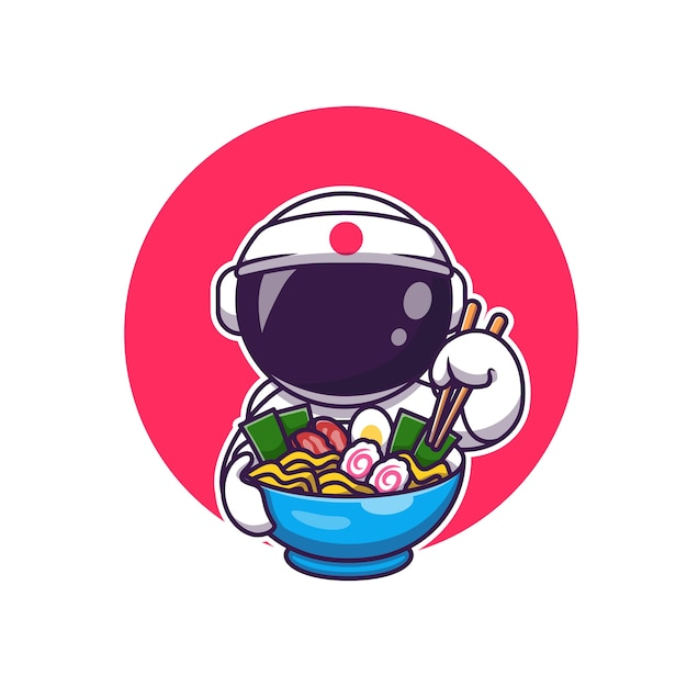 Leuke astronaut die ramen cartoon eet. science food icon concept geïsoleerd. flat cartoon stijl Gratis Vector