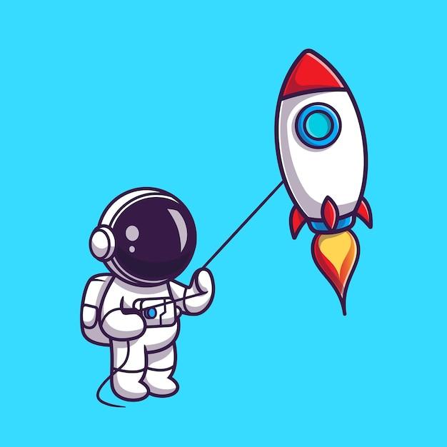 Leuke astronaut die rocket kite cartoon speelt Gratis Vector