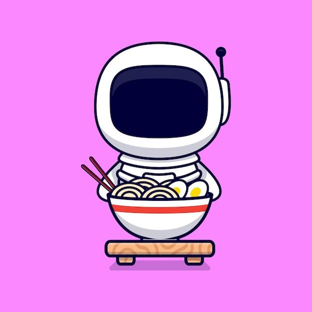 Leuke astronaut eatiang ramen noodle cartoon. flat cartoon stijl Premium Vector
