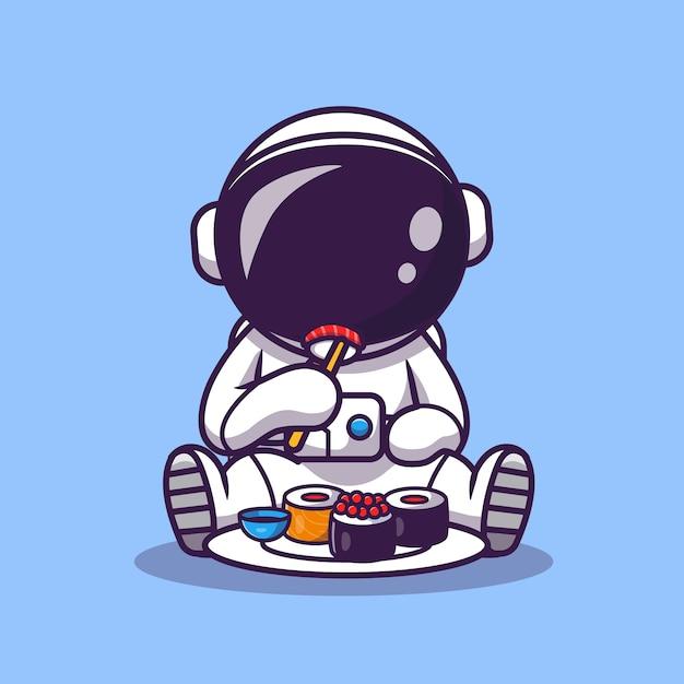 Leuke astronaut eet sushi cartoon afbeelding. wetenschap voedsel pictogram concept. platte cartoon stijl Gratis Vector
