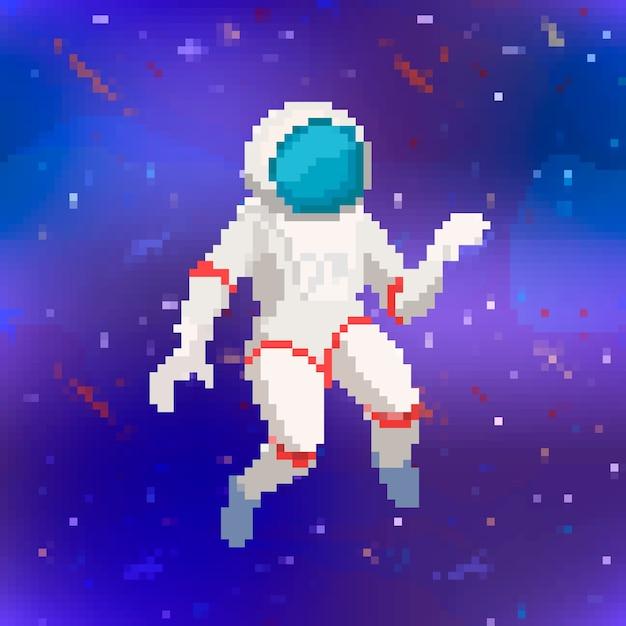 Leuke astronaut in pixelart-stijl op paarse ruimteachtergrond Premium Vector