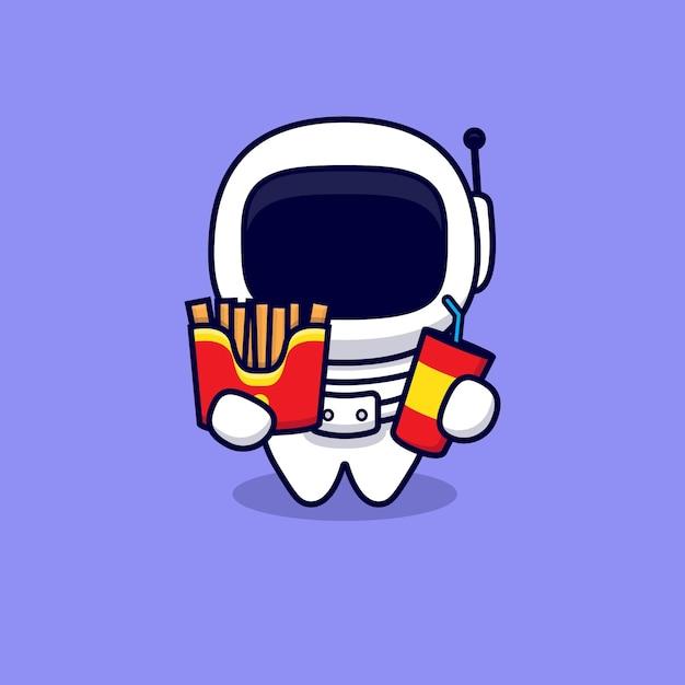 Leuke astronaut love fast food cartoon. flat cartoon stijl Premium Vector