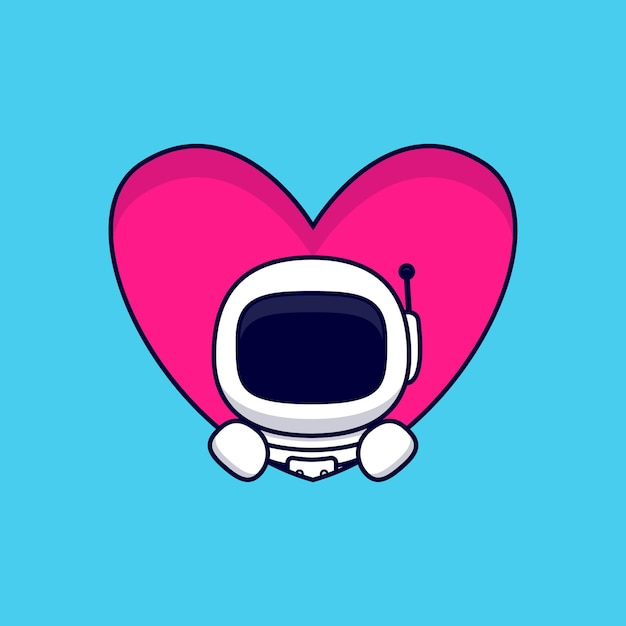 Leuke astronaut popup van hart cartoon. flat cartoon stijl Premium Vector
