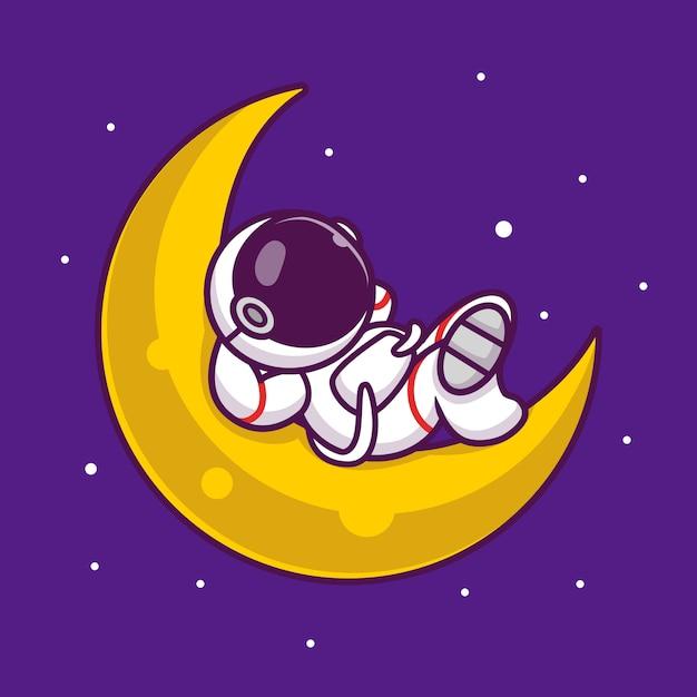 Leuke astronaut slapen op de maan cartoon pictogram illustratie. de mensen onderzoeken ruimtepictogramconcept geïsoleerde premie. flat cartoon stijl Premium Vector