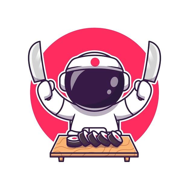 Leuke astronaut sushi met mes cartoon. science food icon concept geïsoleerd. flat cartoon stijl Gratis Vector
