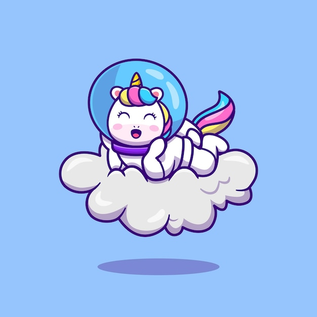 Leuke astronaut unicorn liggend op cloud cartoon Gratis Vector