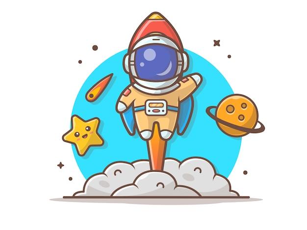 Leuke astronaut vliegen met raket, planeet en schattige ster illustratie Premium Vector