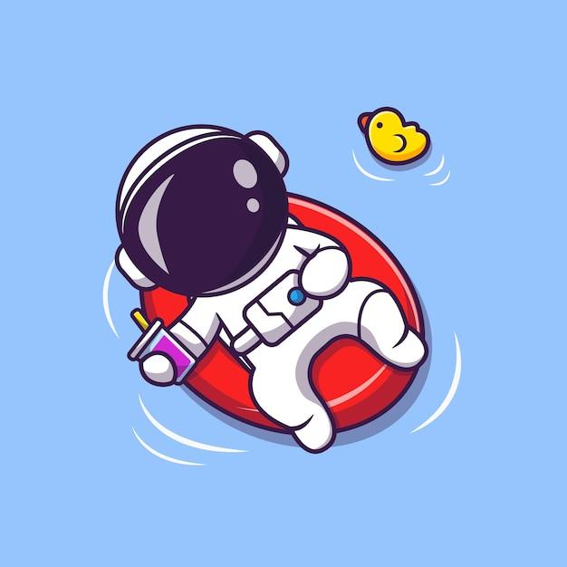 Leuke astronaut zomer drijvend op strand met ballon cartoon afbeelding. wetenschap zomer concept. platte cartoon stijl Gratis Vector