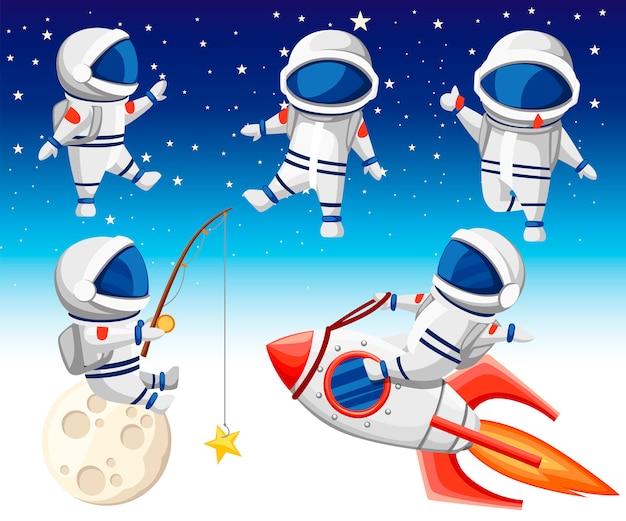 Leuke astronautencollectie. astronaut zit op raket, astronaut zit op maan en vissen en drie dansende astronauten. stijl. illustratie op hemelachtergrond Premium Vector