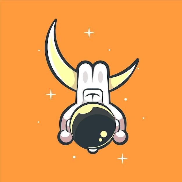 Leuke astronautenhanger op de illustratie van het maanbeeldverhaal Premium Vector