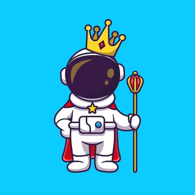 Leuke astronautenkoning met kroon cartoon pictogram illustratie. wetenschap technologie pictogram concept geïsoleerd. platte cartoon stijl Gratis Vector