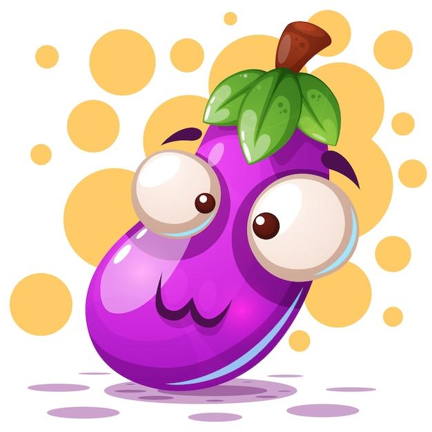 Leuke aubergineillustratie - beeldverhaalkarakters. Premium Vector