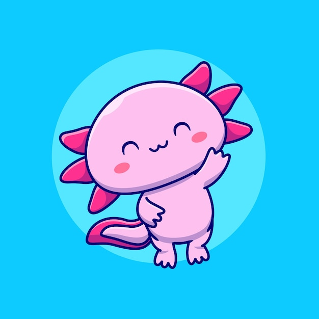 Leuke axolotl cartoon afbeelding. animal love concept geïsoleerd. platte cartoon Gratis Vector