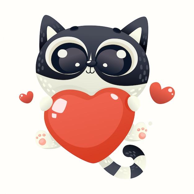 Leuke baby kat liefde Premium Vector