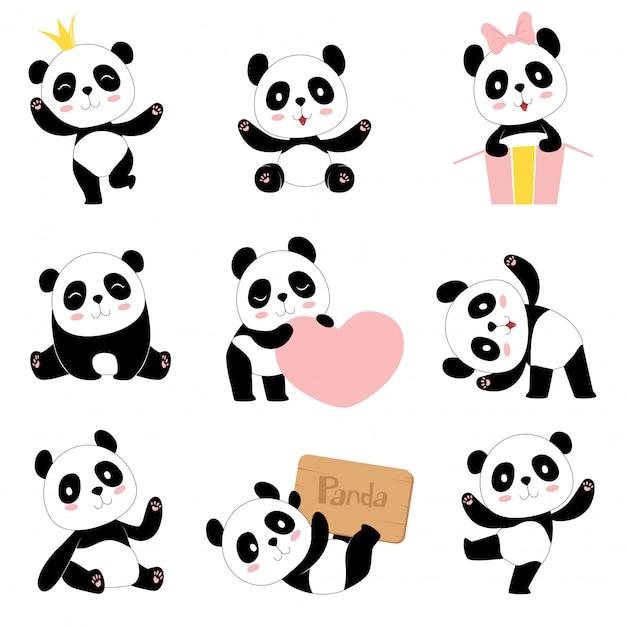 Leuke baby panda's. speelgoed dieren chinese symbolen panda dragen schattige grappige baby mascotte tekens collectie in cartoon stijl Premium Vector