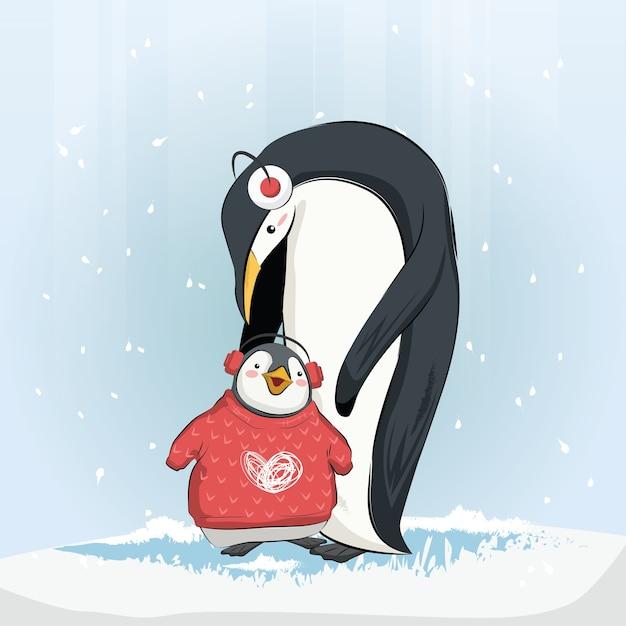 Leuke baby penguin dragen trui Premium Vector