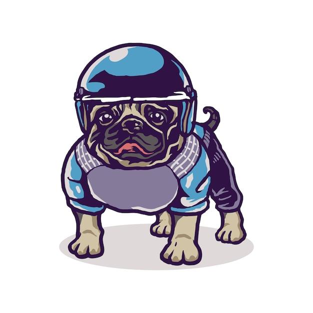 Leuke baby pug sport cartoon illustratie Premium Vector