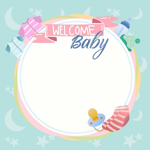 Leuke babydouche en nieuw - geboren van de achtergrond ontwerpbanner vector met fopspeen, babykleren. Premium Vector
