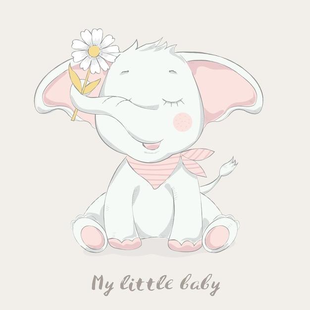 Leuke babyolifant met bloembeeldverhaal Premium Vector