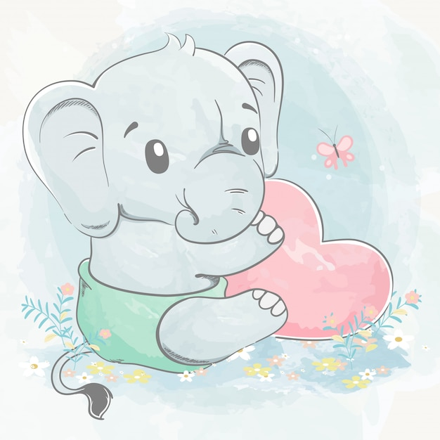 Leuke babyolifant met de grote getrokken illustratie van het de kleurenbeeldverhaal van het hartwater Premium Vector