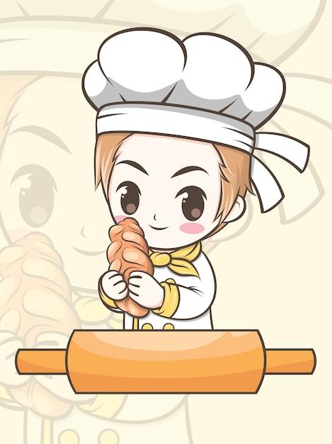 Leuke bakkerij chef-kok jongen met een brood - stripfiguur en logo illustratie Premium Vector