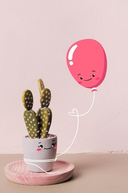Leuke ballon die een gelukkige cactus houdt Gratis Vector