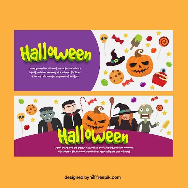Halloween Artikelen.Leuke Banners Met Monsters En Halloween Artikelen Vector