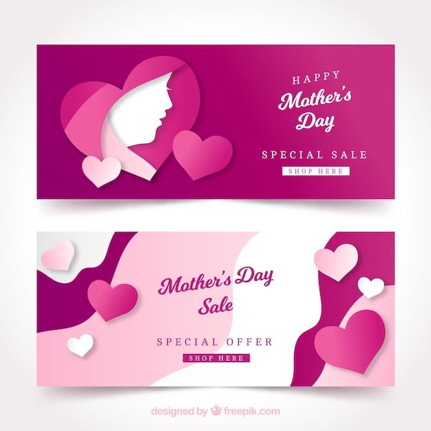 Leuke banners van moederdag Gratis Vector