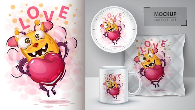 Leuke bij met hart poster en merchandising Premium Vector