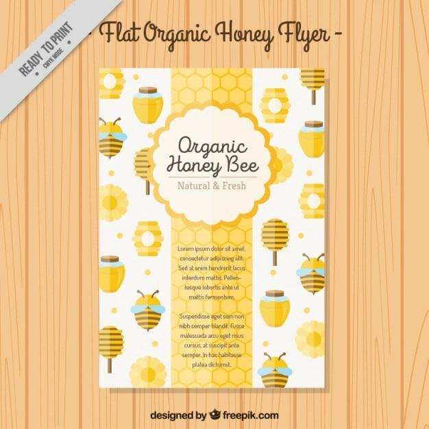 Leuke biologische honing brochure Gratis Vector