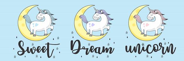 Leuke blauwe baby eenhoorn doodle schets Premium Vector