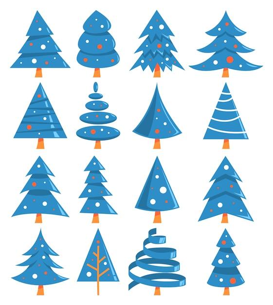 Leuke blauwe kerstboom van verschillende vorm set. Premium Vector
