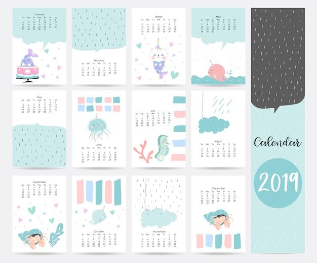 Leuke blauwe maandelijkse kalender Premium Vector