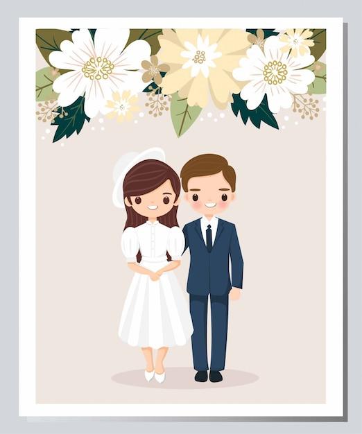Leuke bruid en bruidegom cartoon op bloem bruiloft uitnodigingskaart Premium Vector