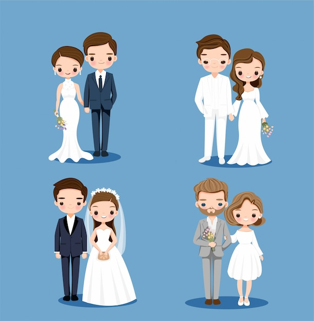 Leuke bruid en bruidegom cartoon tekenset collectie set Premium Vector