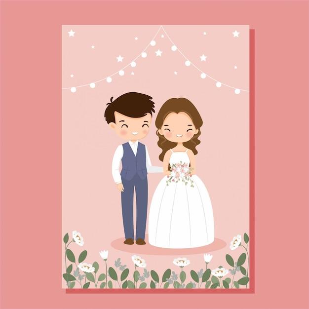 Leuke bruid en bruidegom op bloem bruiloft uitnodigingskaart Premium Vector