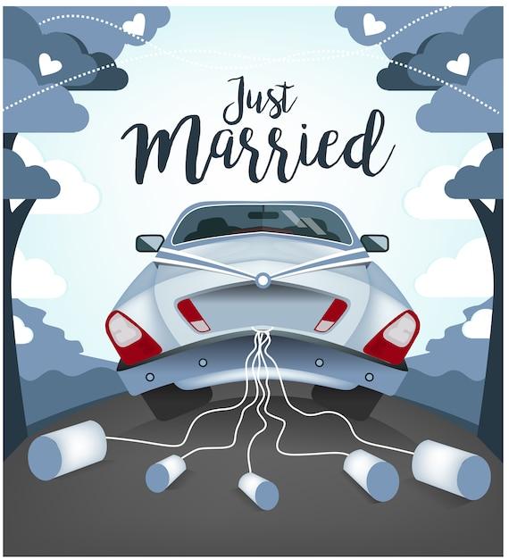 Leuke bruiloft auto illustratie Premium Vector
