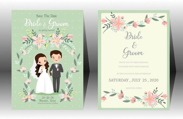 Leuke bruiloft cartoon bruid en bruidegom paar uitnodigingskaart op groene achtergrond Premium Vector