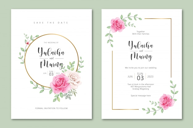 Leuke bruiloft uitnodiging kaartsjabloon met rozen aquarel Premium Vector
