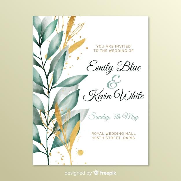Leuke bruiloft uitnodiging met bladeren Gratis Vector